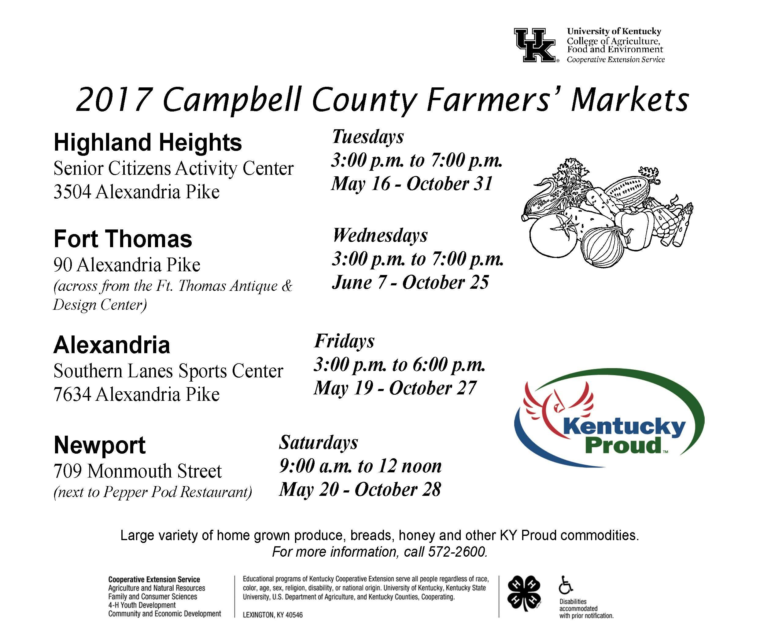 Farmers' Market Schedule page 1