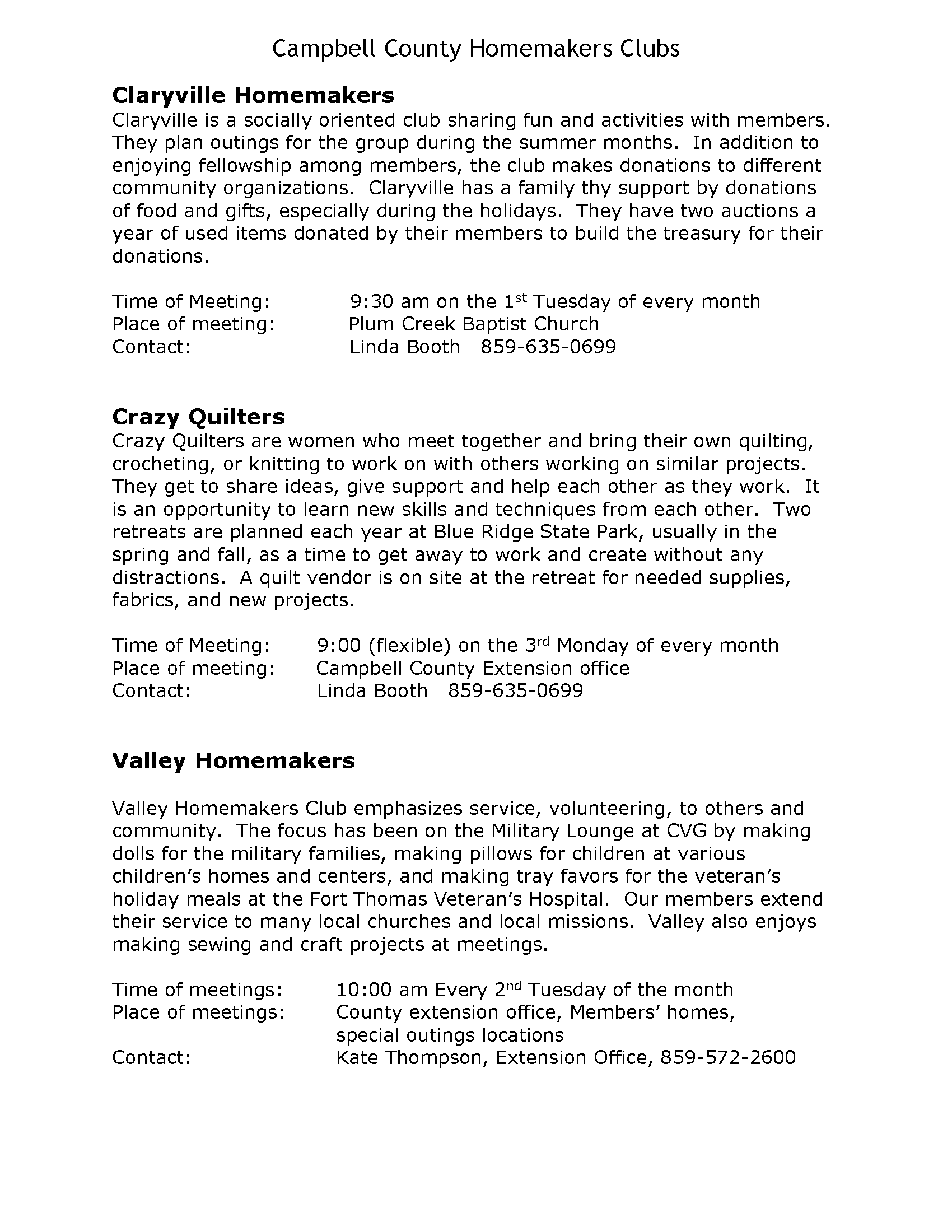 Campbell County Homemakers Clubs Campbell County