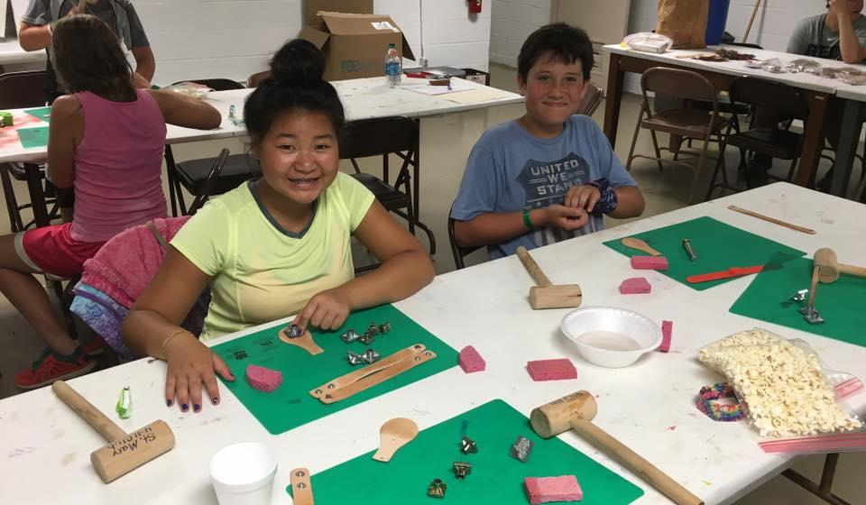 Having fun in the leather class at 4-H Camp